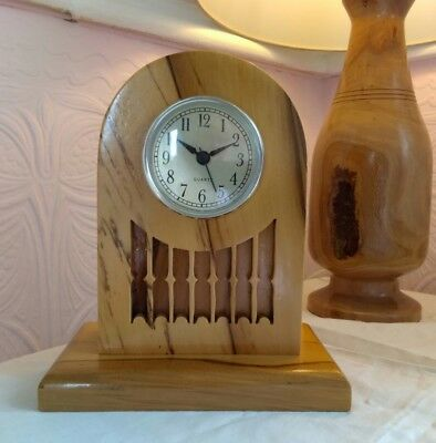 Vintage hand turned carved Charles Rennee Mackintosh style wooden Mantel Clock