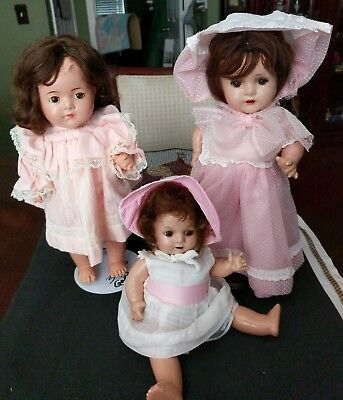 "Lot of 3 Antique Madame Alexander Dionne Quint Dolls Clothed Bonnets 2-14"" & 11"""