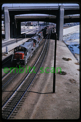 Original Slide SP Southern Pacific GE U25B #7557 Freight Action 1964 Los Angeles