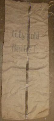 antique 2 SIDED GRAIN FLOUR SEED FEED BAG SACK 1900's linen cloth BROWN LINE