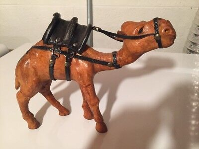 "Vintage  Camel Leather Wrapped Figure Figurine Statue _w/Saddle 6"" TALL"