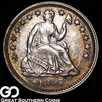 1857 Seated Liberty Half Dime, Choice BU++, Beautiful Color