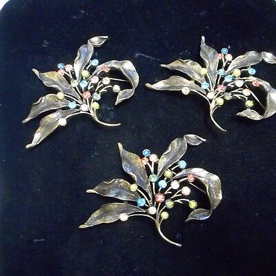 Lot Of Three Chico's Flower Pins With Crystal Very Nice