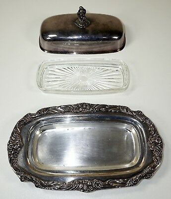 Reed & Barton Butter Dish with Glass Holder, King Francis 1690, Silverplate
