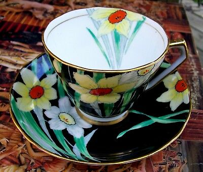 Dramatic Art Deco Internal Floral Decorated Radford Narcissus Tea Cup Saucer