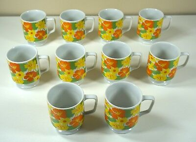 Vintage Set of 10 Coffee Cups 1960's-70's Daisys & Barren Strawberry Flowers