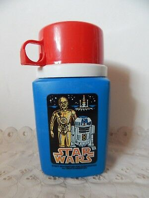 Thermos Division 8 Oz. 1977 Star Wars Blue With Red Cup & Stopper C3PO And R2D2