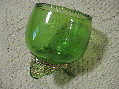 Green Glass Dish From The Illinois State Fair 1912 Has Mother Written On It