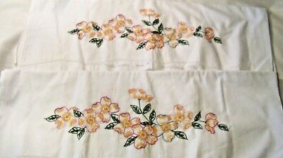 Vintage Embroidered Pillowcases to Finish Dog Wood or Apple Blossom