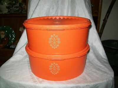 Vintage Tupperware Canisters Orange Stacking (2)
