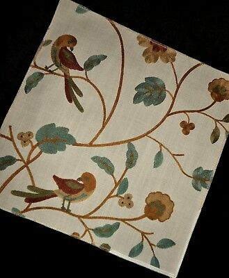 BEAUTIFUL! Finished Floral Bird Upholstery Pillow Fabric Wool CREWEL Embroidery