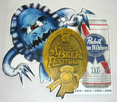 PBR Pabst Blue Ribbon Beer Metal Tacker Sign Bar Signage GABF Gold Medal 2016