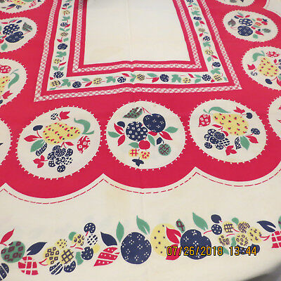 Vintage 1950's Tablecloths    Cotton Linen   Red Cherries And Fruit