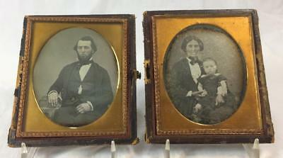 CHUCKLING WIFE! Pair 1852 1/6 plate Dags - Named Dated Orig Seals Full Case