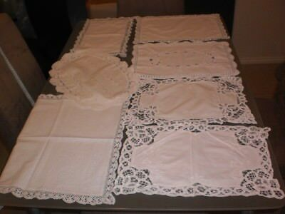 7 Beautiful Vintage White Table/buffet Doilies