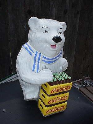 Coca Cola Polar Bear Delivery Cookie Jar Stash Jar Treat Jar