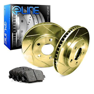 For Ford, Lincoln Flex, MKS, Taurus Rear Gold Slotted Brake Rotors+Ceramic Pads
