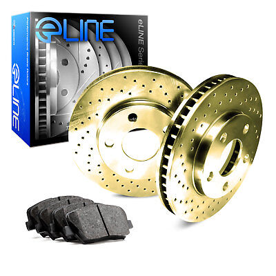 For Ford, Lincoln Flex, MKS, Taurus Rear Gold Drilled Brake Rotors+Ceramic Pads