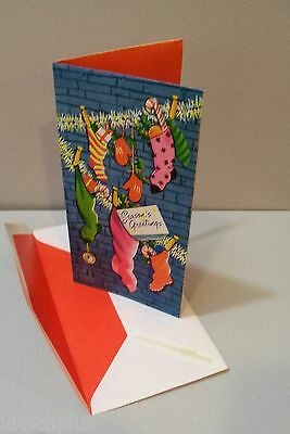 Vtg Card Highlights for Christmas Pink Stockings Red Mittens Garland  UNUSED