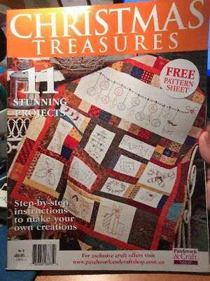 craft magazine/book - CHRISTMAS TREASURES - includes pattern sheet - 11 projects