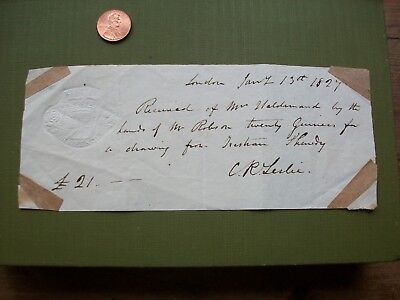 1827 Receipt For Tristram Shandy Drawing: Charles Leslie R.a.+ George F. Robson