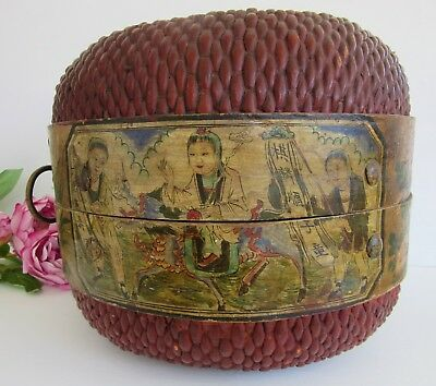 Hand Painted Chinese Wedding Basket with Brass Handle and Catch