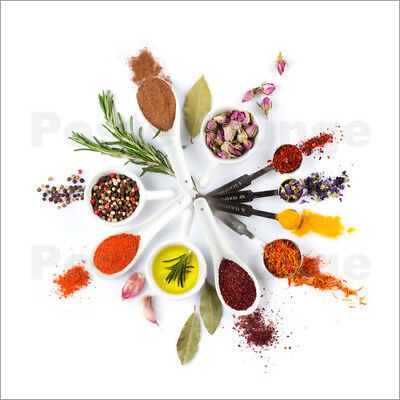 Poster / Canvas print / Glass print Spices and herbs clock