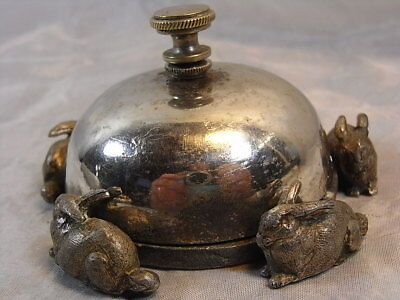 Ancienne Sonnette De Table Lapin Hotel Cloche Gong Timbre Art Deco Bell Of Table