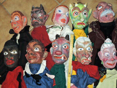 10 old German.Punch &  Judy  Lrg  CHARACTER paper  mache fantastic  PUPPETS