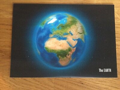 Amazing 3D hologram map globe postcard. The Earth. Authentic Cards