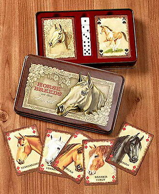 HORSE BREEDS Animal - 2 Deck of Playing Cards and 5 Dice Game Set in Tin Box