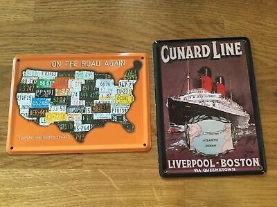 2 Collectable Tin Postcards Signs. Cunard Line ship, USA- On the Road Again