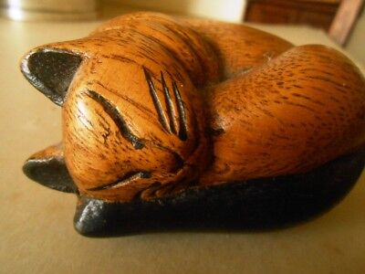 Carved wooden sleeping cat figurine 9cm x 8cm x 5cm