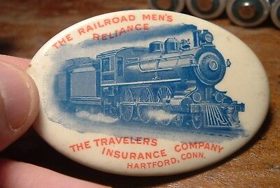 Vintage Antique Pocket Mirror Railroad Men's Reliance Travelers Insurance TRAIN
