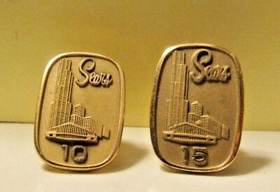 Collectible Vintage Sears Gold Tone 5 & 10 year Service Pin LOT OF 2          23