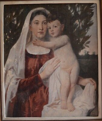 Fine 20th Century Madonna & Child Oil On Canvas Painting HOWARD