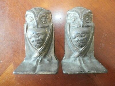 Set Pair Vintage Antique Cast Iron Figural Owl Bird Bookends Book Ends