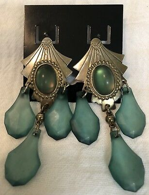 Vintage Art Deco Metal and large Green Plastic Droplets Dangle Earrings
