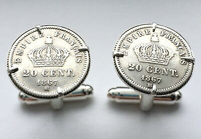 Antique Silver 1867 Napoleon III French Imperial Crowns France Coin Cufflinks!