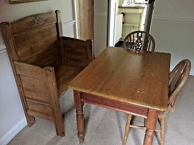 Antique Mid Victorian Pine Kitchen Table With Drawer