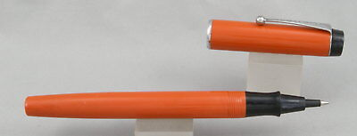 Parker Big Red Orange & Chrome Rollerball Pen - c. 1980 - Made In USA
