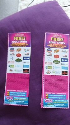 2 Free Adult Entry Tickets / London Eye/alton Towers,/thorpe Park, /legoland,etc