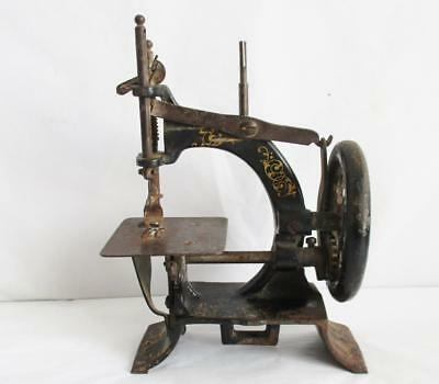 """RARE ANTIQUE CHILDS SEWING MACHINE GERMAN """"MULLER"""" MODEL No 10 CAST IRON 19thC"""