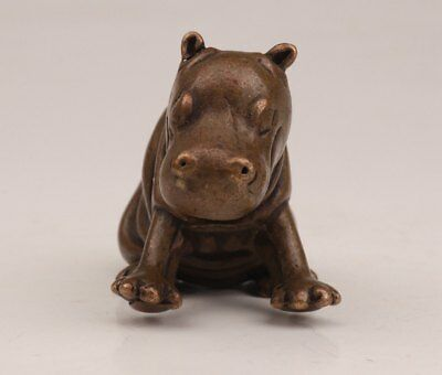 Chinese Bronze Subtle Old Handmade Casting Hippo Statue Figurine Solid Cast