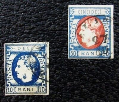 nystamps Romania Stamp # 42a,45 Used $125