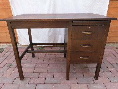 Lovely Vintage Mid Century Wooden Utility Industrial Knee Hole Desk With Key.