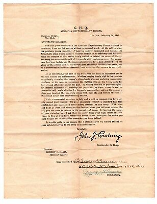 General Orders No. 38-A from General Pershing to AEF Soldiers End of WWI