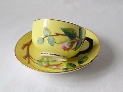 Antique Fine Porcelain Cup & Saucer.hand Painted Raised Rose Bud Stem & Leaves.