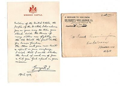 Message from King George Vth to American Soldier from Windsor Castle 1918