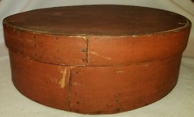 19th Century Large Bentwood Covered Pantry or Cheese Box Original Red Paint 17""